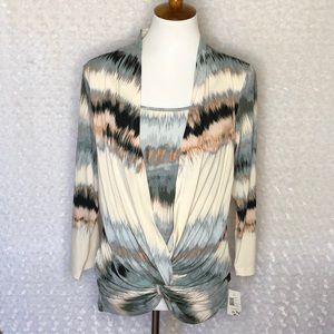 Halo Career Knit Twist Front Top Small NWT